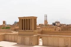Panoramic view of badgirs and mosques of Yazd Royalty Free Stock Images