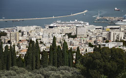 Panoramic view from Bahai Gardens to cityscape and port in Haifa Stock Photography