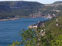 Panoramic view at Bakar bay in Croatia and old town with houses and red roofs stock photo