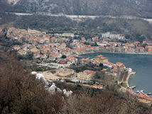 Panoramic view at Bakar city old town with harbour, houses and red roofs royalty free stock image