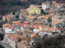 Panoramic view at Bakar city old town with houses and red roofs stock images