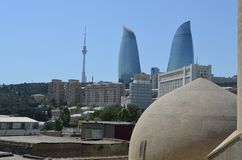 Panoramic view of Baku - the capital of Azerbaijan located by the Caspian Sea shore. Seen from a hammam. royalty free stock photos