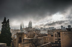 Panoramic view on Baku city and Flame Towers from Old City in Baku, Capital of Azerbaijan Republic Stock Photography