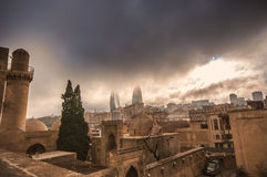 Panoramic view on Baku city and Flame Towers from Old City in Baku, Capital of Azerbaijan Republic Royalty Free Stock Images
