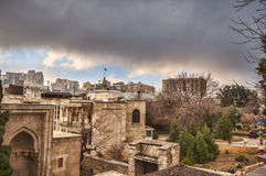 Panoramic view on Baku city and Flame Towers from Old City in Baku, Capital of Azerbaijan Republic Royalty Free Stock Photo