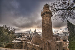 Panoramic view on Baku city and Flame Towers from Old City in Baku, Capital of Azerbaijan Republic Stock Images