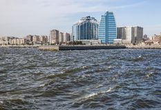 Panoramic view of Baku city from the sea Bay.  Republic of Azerbaijan. Panoramic view of Baku city from the sea Bay. On a Sunny windy day. Republic of Stock Images