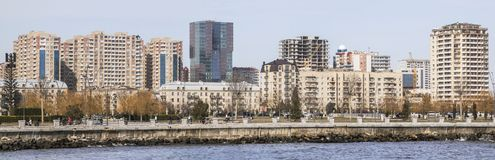 Panoramic view of Baku city from the sea Bay.  Republic of Azerbaijan. Panoramic view of Baku city from the sea Bay. On a Sunny windy day. Republic of Stock Photography