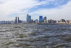 Panoramic view of Baku city from the sea Bay.  Republic of Azerbaijan. Panoramic view of Baku city from the sea Bay. On a Sunny windy day. Republic of Stock Photo
