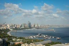 Panoramic view of the Baku quay and the Caspian sea. stock image