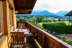 Panoramic view from balcony in alps Royalty Free Stock Image