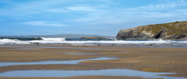 Panoramic view of ballybunion beach and cliff. S on the wild atlantic way in ireland Stock Photos
