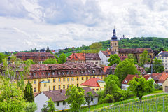 Panoramic view of Bamberg city and St Jacob Church Stock Images