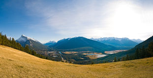 Panoramic View of Banff. Panoramic view of the city of Banff stock photos