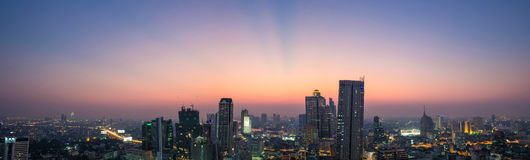 Panoramic view of  Bangkok City at Dust, Thailand Stock Images