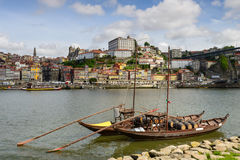 Panoramic view on the banks of the Douro in Oporto Royalty Free Stock Image