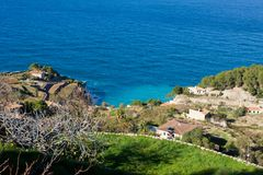 Panoramic view of Banyalbufar bay and vineyard terraces, Majorca Royalty Free Stock Images