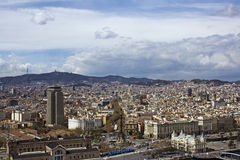 Panoramic view of Barcelona stock photos