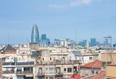 Panoramic view of Barcelona city Stock Image