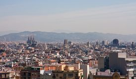 Panoramic view of Barcelona city Stock Photos