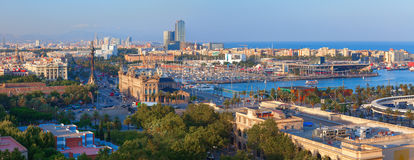 Panoramic view of Barcelona city from Montjuic mountain Royalty Free Stock Image