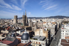 A Barcelona city great view. Panoramic view of Barcelona city's downtown and it's Cathedral Stock Photography