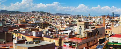 Panoramic view of Barcelona city Royalty Free Stock Photography