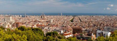 Panoramic view of Barcelona city Stock Image