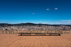 Panoramic view of Barcelona city and Tibidabo hill from the upper area of the Montjuic Castle. Wide angle view of Barcelona, shot of cityscape from the top stock images
