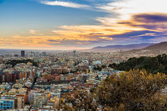 Panoramic view of Barcelona at dawn, Spain Royalty Free Stock Photography