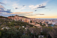 Panoramic view of Barcelona at dawn, Spain Royalty Free Stock Photo