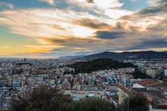 Panoramic view of Barcelona at dawn, Spain Royalty Free Stock Photos