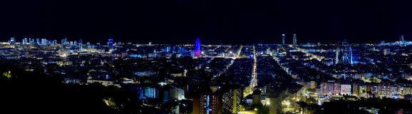 Panoramic view of Barcelona by night. Stock Photography