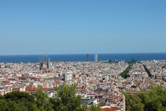 Panoramic view of Barcelona from Parc de Montjuic. Catalonia, Spain Royalty Free Stock Photos