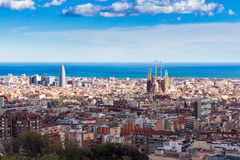 Panoramic view of Barcelona from Park Guell in a beautifull winter day at sunset, Spain royalty free stock photos