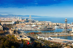 Panoramic view of Barcelona with Port Royalty Free Stock Photo