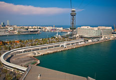 Panoramic view on Barcelona port, Spain Royalty Free Stock Photos