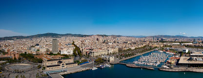 Panoramic view of Barcelona port, Spain Stock Photos
