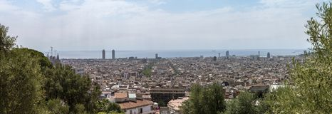 Panoramic view of Barcelona royalty free stock images