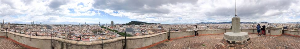 Panoramic view of Barcelona from top viewpoint with terrace Stock Photo