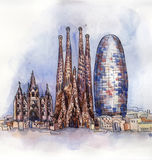 The panoramic view of Barcelona watercolor Stock Photography
