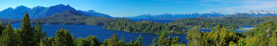 Panoramic view of Bariloche and its lakes, Patagonia, Argentina. Panoramic view of Bariloche and its lake, Patagonia, Argentina, South America Royalty Free Stock Photo