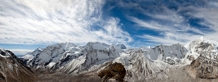 A Panoramic View of the Barun Valley from Makalu. A panorama view of the Barun valley including Baruntse from Peak 6130 Royalty Free Stock Photos