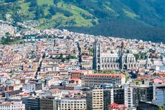 Panoramic view of the Basilica of Quito from above. Ecuador Stock Images