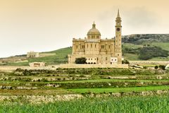 Ta Pinu church, panoramic view, Malta, Gozo island. Panoramic view of The Basilica of Ta Pinu which is the most famous place of pilgrimage for the Maltese Stock Image