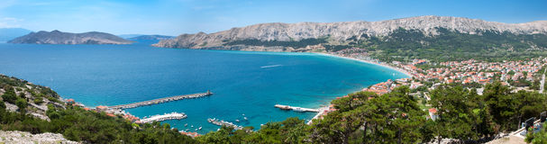 Panoramic view of Baska city and bay - Croatia Stock Image