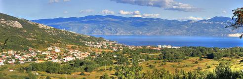 Panoramic view of Baska - croatian town Stock Image