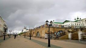 Panoramic view from the Bauman street in Kazan. Panoramic view from Bauman street to the Kremlin in Kazan Royalty Free Stock Photo