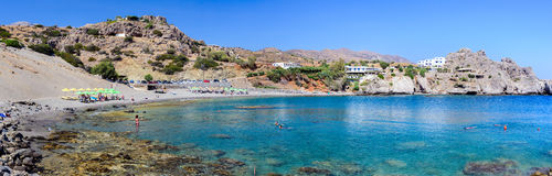 Panoramic view of bay of Aghios Pavlos town on Crete island, Greece Stock Photos
