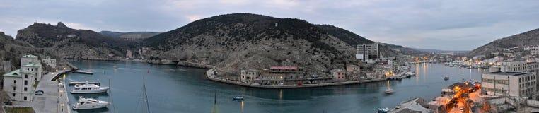 Panoramic view of the bay in Balaklava, Ukraine.  royalty free stock photo